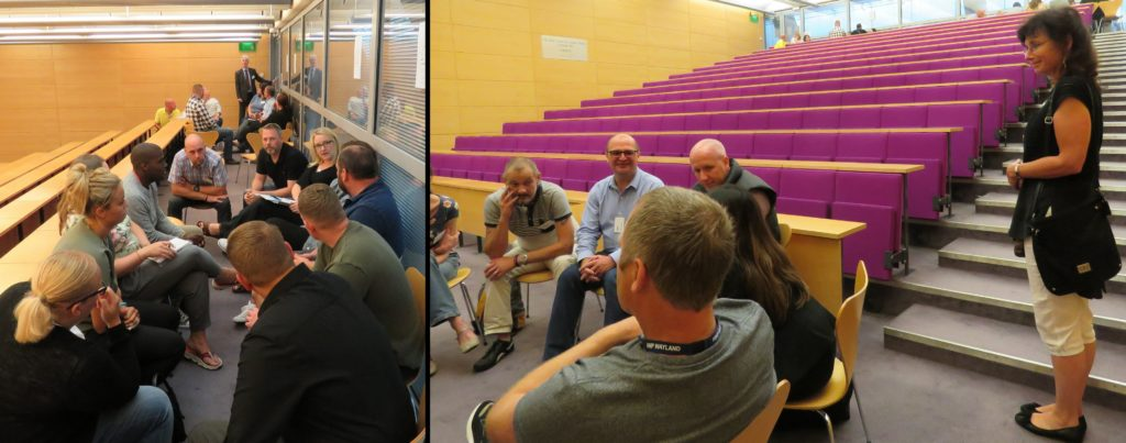 Officers discussing their 'Golden Nuggets' in their breakout groups
